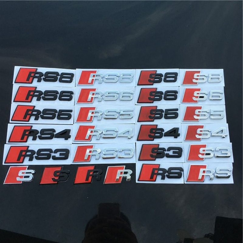 Wholesale R S RS3 RS4 RS5 RS6 RS8 Emblem Letters Number Metal Zinc Car Styling Refitting Trunk 3D Sticker for Audi A4 A6 A4L A6L