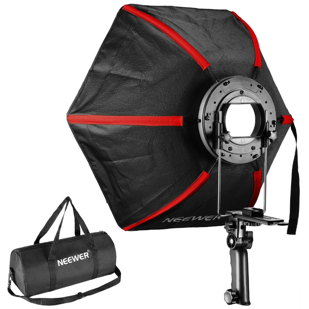Neewer 60 Cm Professional Hexagonal Softbox Collapsible Diffuser With Handle Grip For Speedlight Studio Flash (Black/Red)