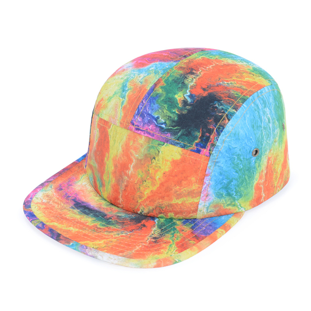 8c95ba814d0 Hot Selling Summer Fashion Tie Dye 5 Panel Hats Rainbow Multicolor Print  Casual Baseball Caps Strapback Cap For Adult Goldtop