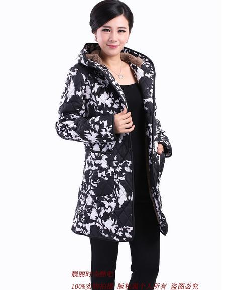 Free shipping   basic     jacket   Cotton clothes 2017 new coat long section of thick hooded fleece warm coat   jacket   women Parkas-9775