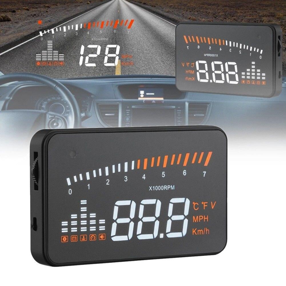 X5 3 pouces OBD II Universal Voiture HUD icône de Carburant Head Up la Vitesse D'affichage LED Avertissement haute qualité Accesorios de coche voiture accessoire