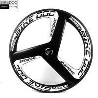 BIKEDOC Carbon 3 Spoke Wheel 700c Fixed Gear Wheel Stiff Carbon Wheelset Chinese Carbon Wheels Diy Carbon Tri Spoke Wheel
