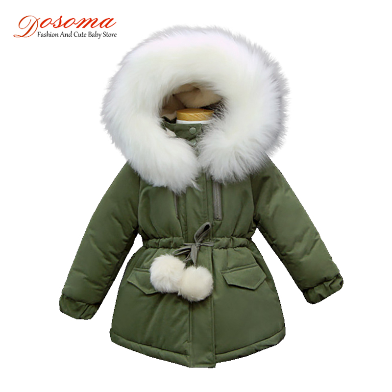 Dosoma Girls Winter Coats Thicken Cotton Parkas For Girls Children Ball Fur Hooded Waist Jacket Kids Warm Coats Girl Outwears 09 vertical b100k double potentiometer shaft 25mm with the midpoint