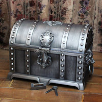 Free Shipping Super Big Size Pirates of the Caribbean Treasure Box Chest Vintage Home Decor 2Layers Jewelry Case Christmas Gift