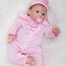 New Style 20 Inch Reborn Baby Girl Lifelike Newborn Princess Babies Cloth Body Mohair Doll Toy With Acrylic Eyes Kids Playmate
