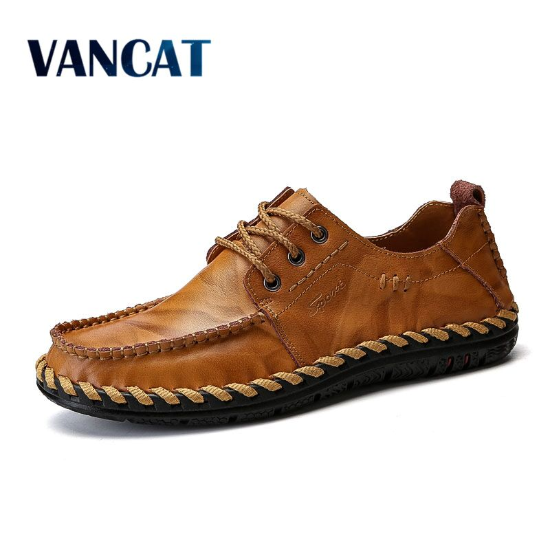 VANCAT 2018 New Men Loafers Luxury Brand Men Shoes Fashion Casual Male Shoes Lace Men Leather Shoes Designer Leather Flat Shoes