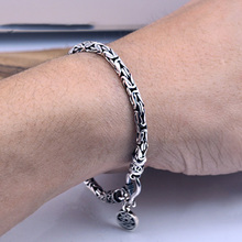 100% Real 925 Sterling Silver Men Bracelet