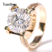 TRANSGEMS 5ct Carat Lab Grown Moissanite Wedding Engagement Rings Solid 14K Yellow Gold Real Diamonds Accents Woman Band