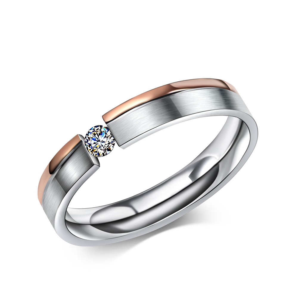 Simple Stainless Steel Rings For Men Women Finger Jewelry Classic Engagement  Wedding Bands Twocolor Plating Cubic Zirconia Ring