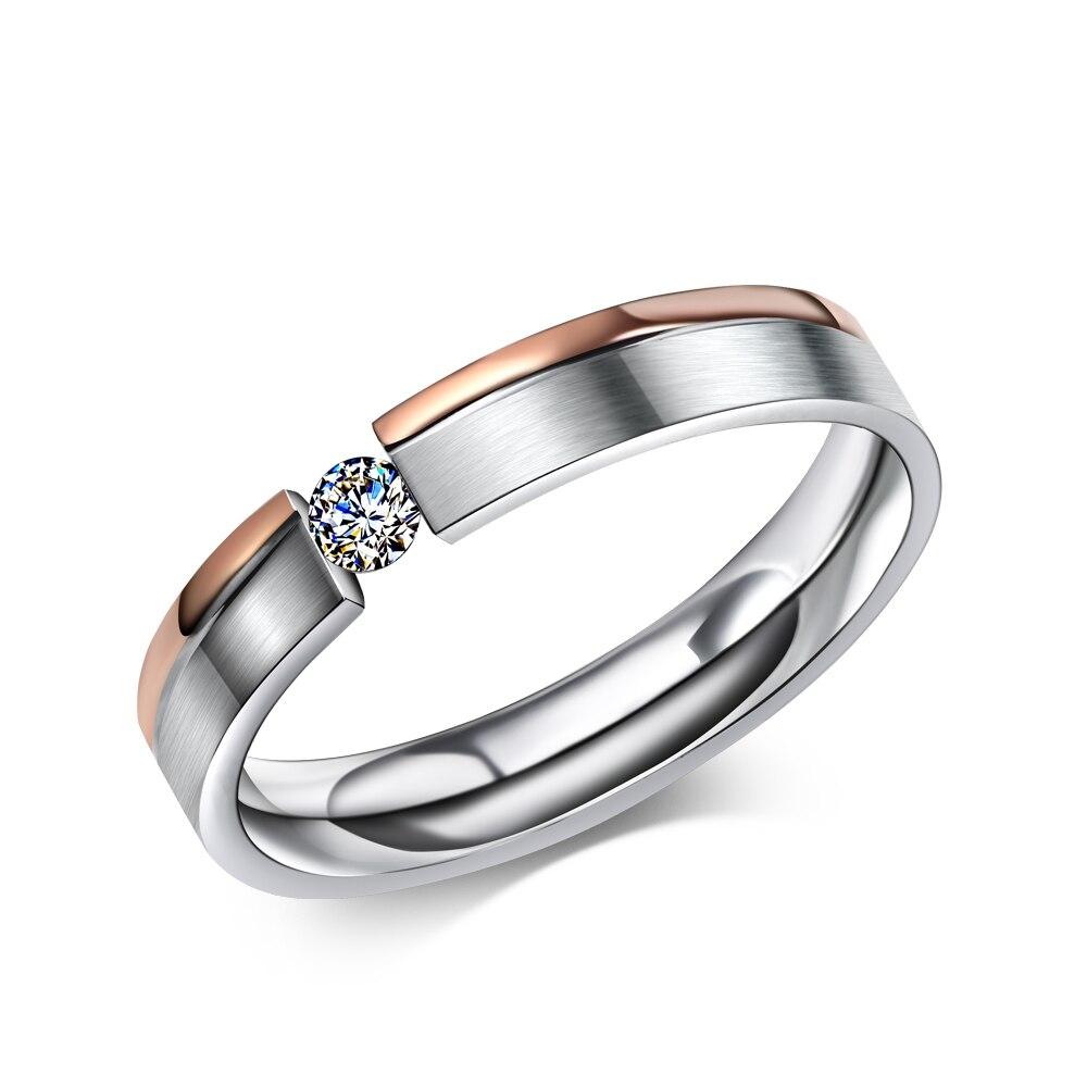 Простой Нержавеющаясталь кольца для Для мужчин Для женщин палец ювелирные изделия классический Обручение обручальные кольца двухцветные...