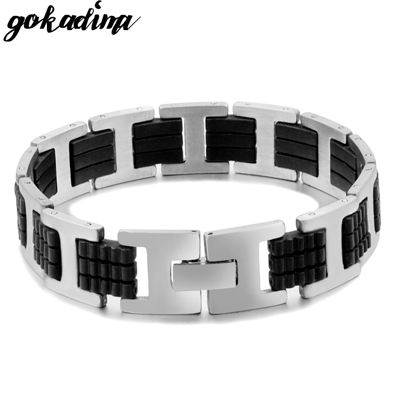 Gokadima siliconenrubber roestvrij stalen armband sieraden voor Gift Party Rock punk mannen armband ketting Link, pulseras WB066