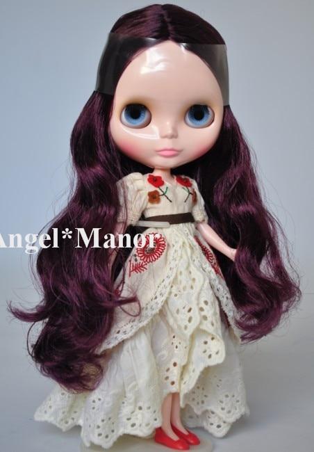 Free shipping Nude Blyth Doll, fuchsia hair, big eye doll,For Girl's Gift,PJ009 free shipping nude blyth doll black5 hair big eye doll for girl s gift pjb005