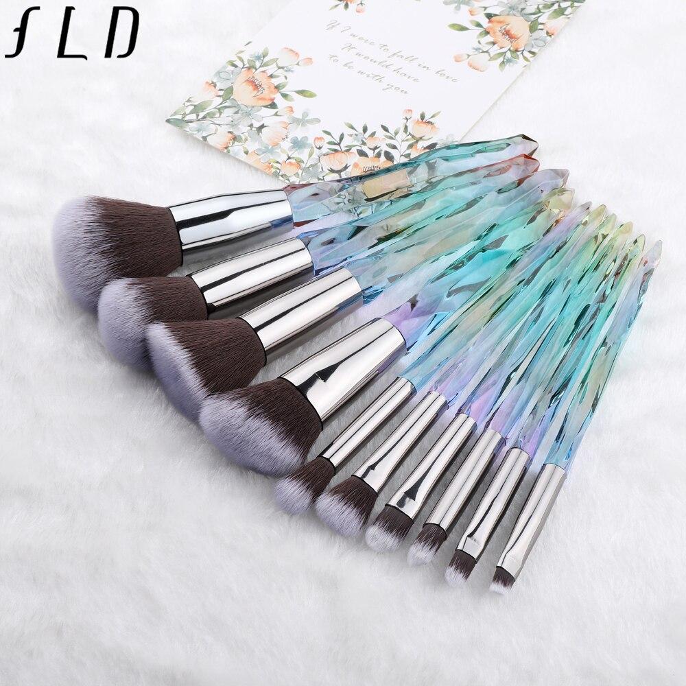FLD 10 piezas de maquillaje pinceles para cosmética Fundación polvo sombra de ojos labio mujeres colorido pincel de maquillaje profesional Kit de