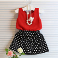 2~7 Years Girls Clothing Sets Pleated Lace Vest Two-piece Set Children Costume Casual Girls Clothes Suit Shirt Polka Dot Skirt