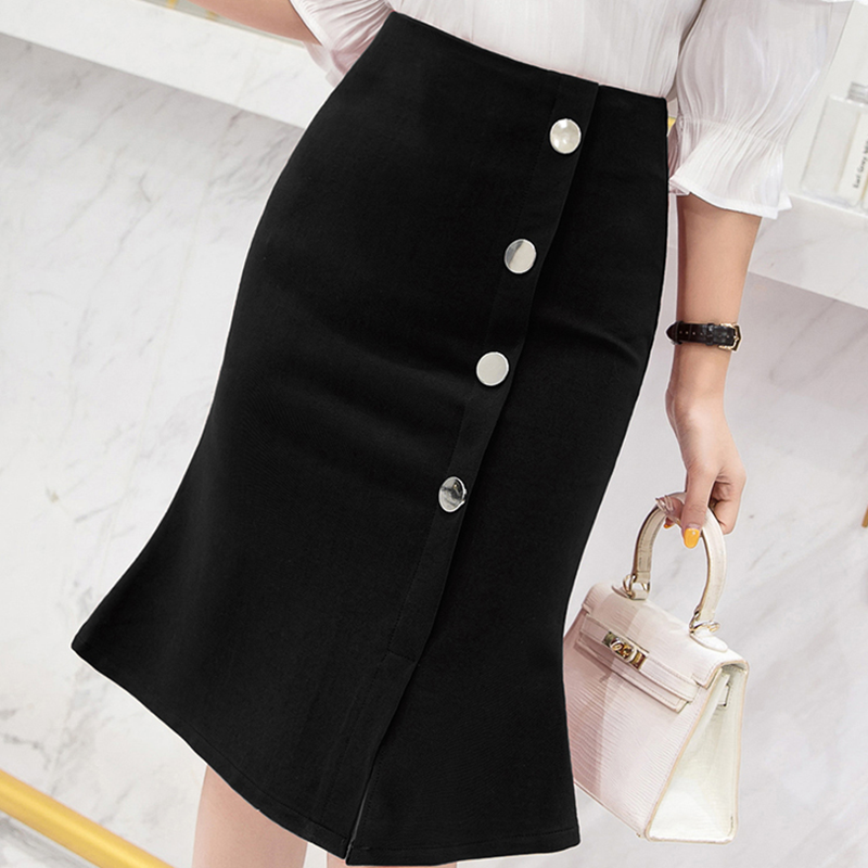Skirts Womens Women Bodycon Skirt Plus Size Elegant Women Midi Ol Pencil Skirts Korean High Waist Pleated Skirt Faldas Harajuku