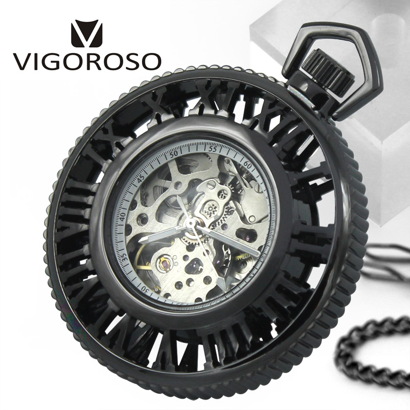 VIGOROSO Brand Steampunk Skeleton Transparent Open Face Roman numerals Hand Wind Up Mechanical Pocket Watch FOB Chain Fashion retro roman numerals skeleton smooth sliver black mechanical pocket watch pendant men women with chain fob watches tjx050