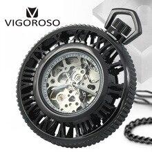 VIGOROSO Brand Steampunk Skeleton Transparent Open Face Roman numerals Hand Wind Up Mechanical Pocket Watch FOB Chain Fashion