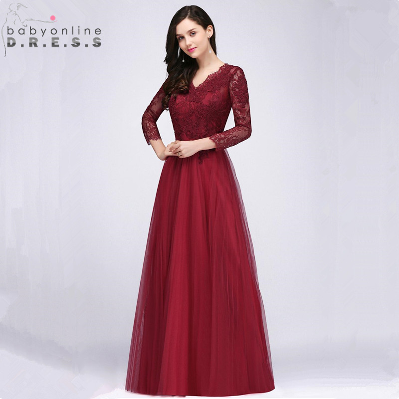 Us 5499 40 Offsexy Deep V Back Burgundy Lace Prom Dresses Long Long Sleeve V Neck Appliques Prom Gown Vestido De Festa Longo In Prom Dresses From