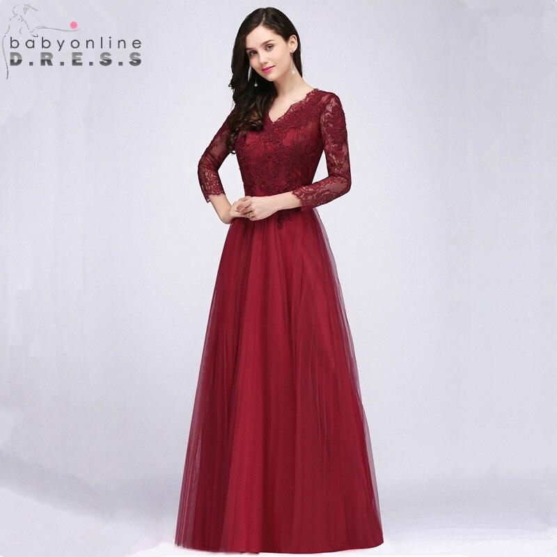 Sexy Deep V Back Burgundy Lace   Prom     Dresses   Long Long Sleeve V Neck Appliques   Prom   Gown Vestido de Festa Longo