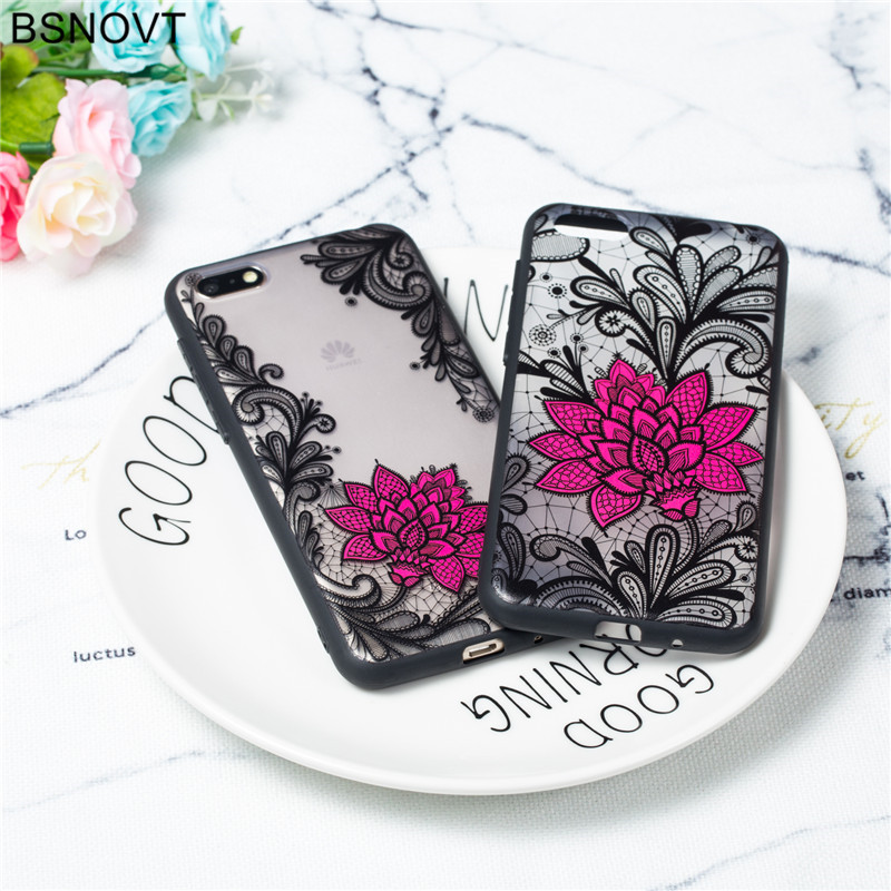 For Huawei Y5 Prime 2018 Case TPU +PC Lace Rose Flower Cover / Funda