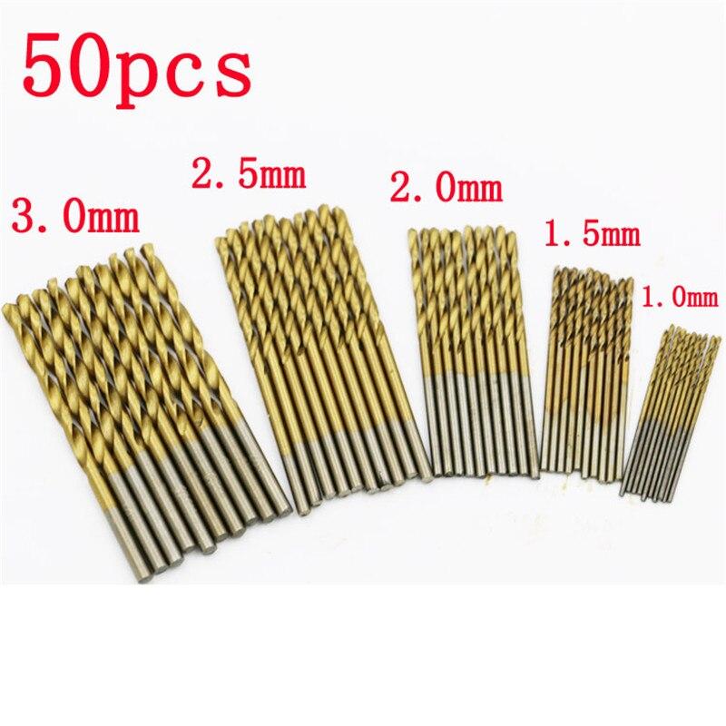 50Pc Twist Drill Bit Set HSS High Speed Steel Titanium Coated Drill Woodworking Wood Tool 1/1.5/2/2.5/3mm For Metal