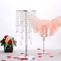 8pcs/set Europe sliver plate crystal flower vases for weddings Party Road lead decoration metal vase decoration home HP073