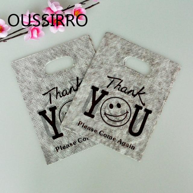25 pcs Lindo Obrigado Sacos De Plástico Com Alça Mini Jóias Boutique Sacos de Compras de Embalagens de Presente Favores Do Partido Por Atacado