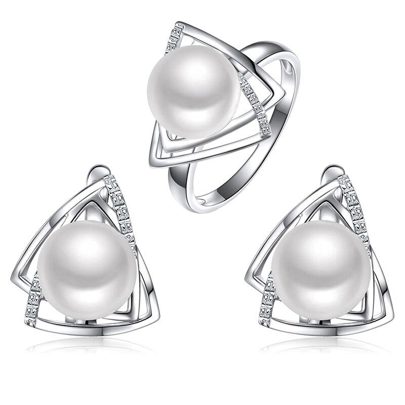 925 bijoux en argent sterling perle boucle d'oreille et anneau fine jewelry set avec 9-9.5mm naturel d'eau douce perle de mode bijoux