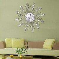 3D Metal Wall Clock Diamonds Flower Silent Dazzling Watch Room Home Office Decor M15
