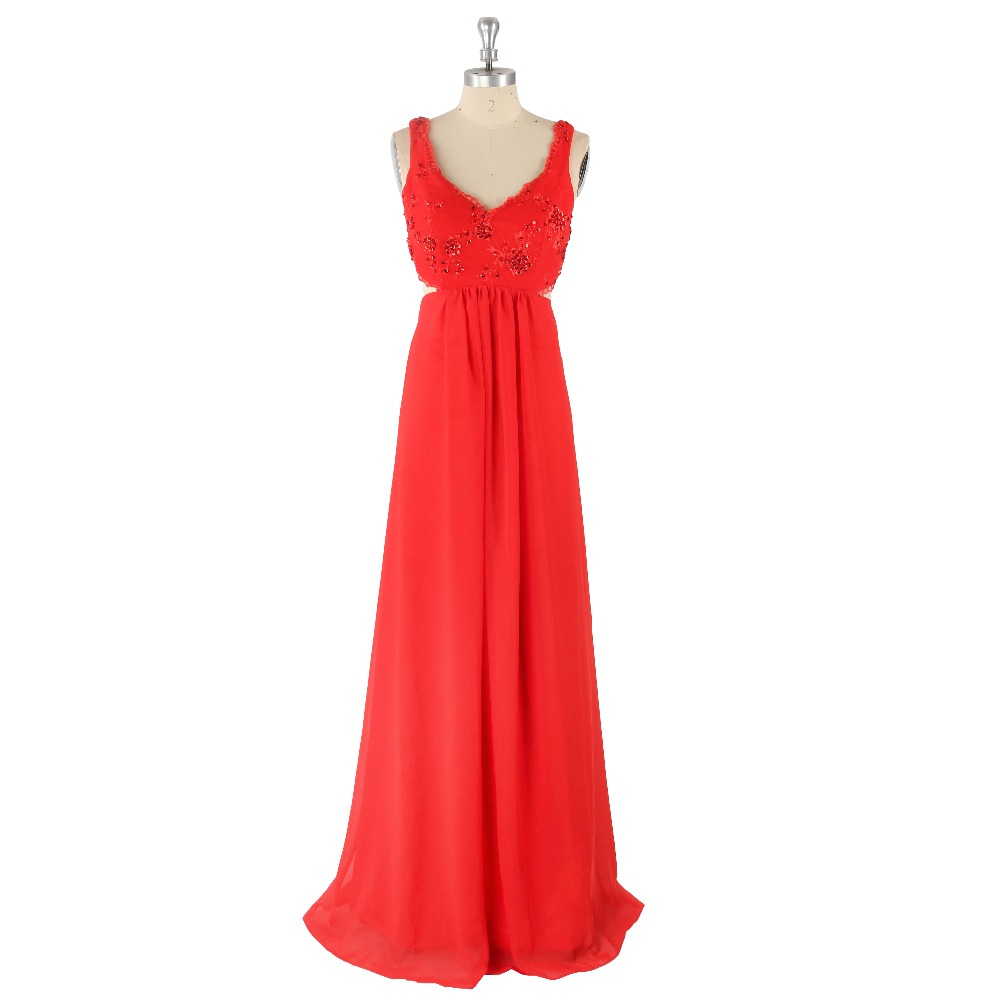 2017 Red Sexy V-Neck Sleeveless Straps Embroidery Beading Backless A-line Satin Sweep Train   Prom     Dress