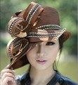 2017 Estilo Francés de Las Mujeres Vestido de Playa Cóctel de la Tarde de La Boda de La Iglesia de Derby Sombreros de Sun Cap Boinas Sombrero de Ala Ancha de La Vendimia Nueva