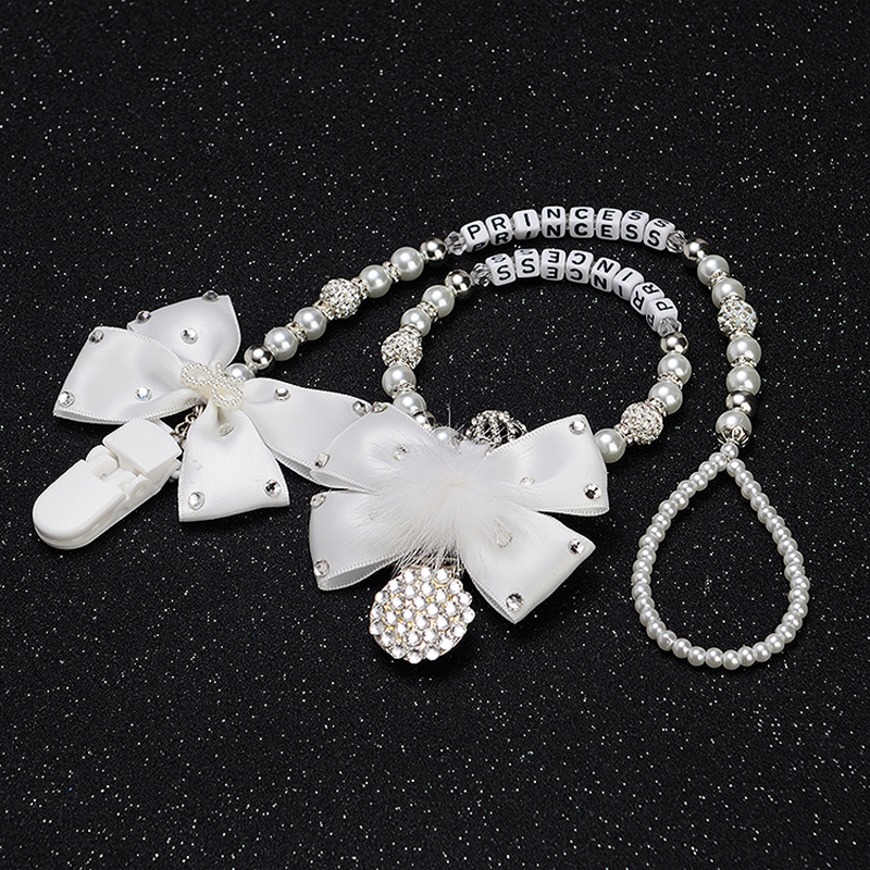 MIYOCAR Custom Name Bling Crystal Rhinestone Princess Baby Pacifier Clip Pacifier Holder Dummy Clip Stroller Chain