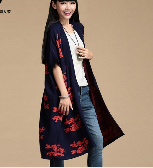 New --2016 autumn Medium-long cape fancy loose plus size clothing quality knitted sweater cardigan ...