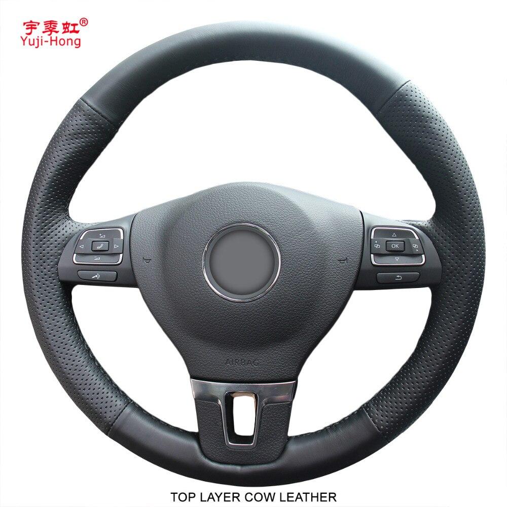 Housse de volant en cuir de vache véritable PONSY pour Volkswagen VW CC Tiguan Passat Touran Golf 6 point à la main