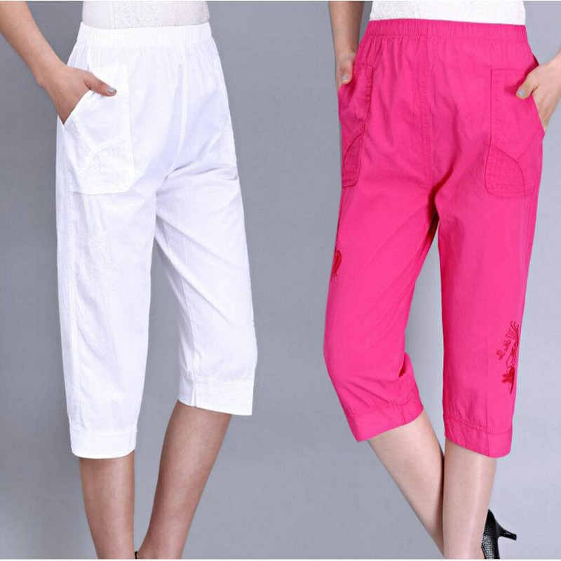 2018 Summer Women   Pants     Capris   High Waist Plus Size   Pants   Elastic Waist Casual   Pants   Women SK01