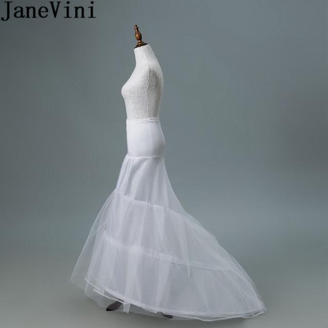 JaneVini 2018 White Tulle Underskirt Bustle Petticots Bride Mermaid Crinoline Net Petticoat Wedding Accessories Jupon 3 Cerceaux