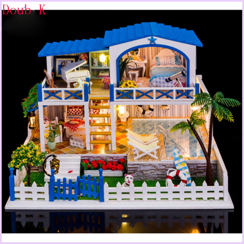 Doub k DIY dollhouse Mini 3D stereo blocks assembly model toys puzzle miniatures building for dollhouses Household doll house cubicfun 3d puzzle diy paper model building p615 dollhouse garden villa puzzle 3d handmade lovely toys for kids christmas gifts