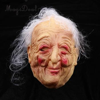 Creepy Party Front Face Masquerade Mask Halloween Prop Ugly Wrinkled Old Women Female Hag Gray Hair Lady Granny Fancy Dress Prop tipi tent kinderkamer