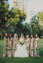 Gorgeous Gold Sequins Long Bridesmaid Dresses 2016 Cap Sleeves Scoop Floor Length Wedding Party Gowns Prom Gowns C55