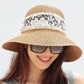 2016 Nueva Señora Sombrero de Sun Del Verano Sombrero de Paja de Las Mujeres Plegado de Ala Ancha Dom Casquillo Elegante Viajar Sombrero Nuevo Headwear B-1986