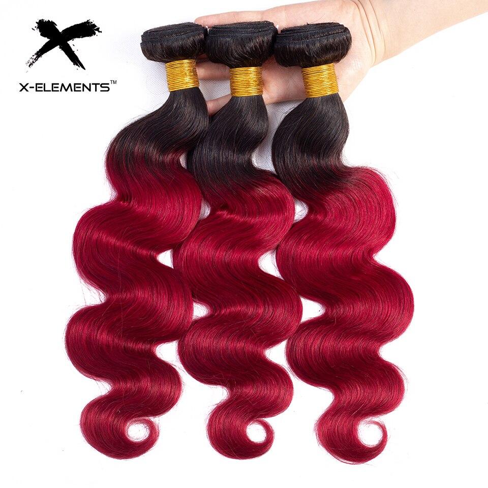 X-Elements Ombre Brazilian Body Wave Hair Bundles T1B Red T1B 30 T1B Burgundy Ombre Human Hair Extensions Two Tones Hair Weave Bundles (18)