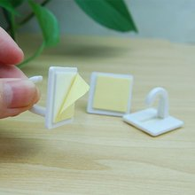1 pcs White Self Adhesive Plastic Square Hook Small Wall Mount Hanger Holder Hook for Home Kitchen Bathroom Drop Shipping 18pcs white sticky self adhesive hook for kitchen bathroom tower holder hanger kitchen use