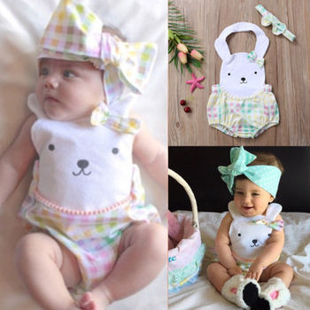 Cute Newborn Baby Girl Rabbit Floral Romper Jumpsuit+Headband Outfits Clothes одежда на маленьких мальчиков