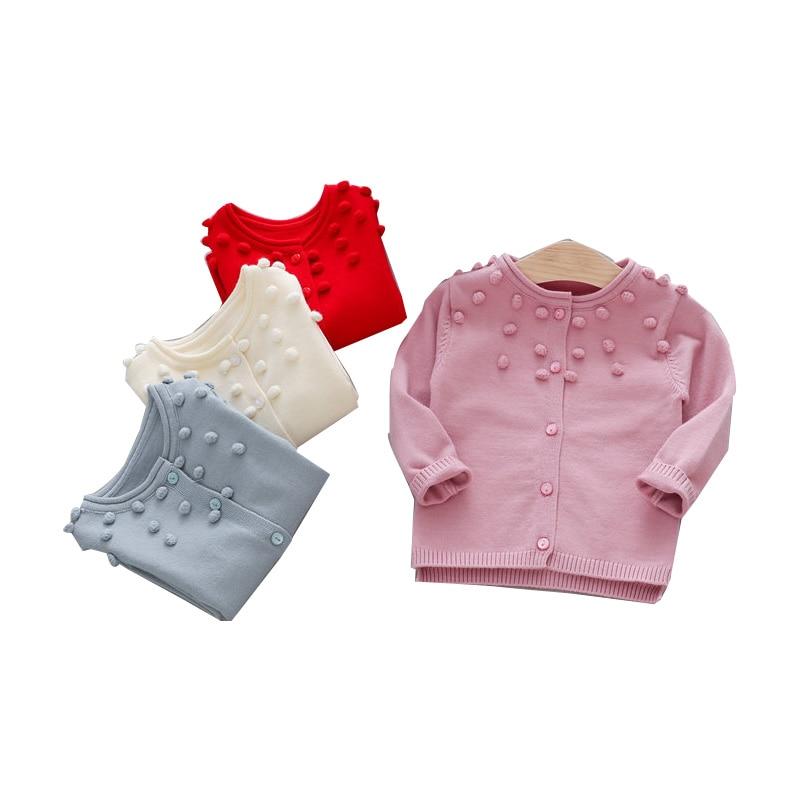 Casual Autumn Children Girls Cardigan Baby Infants Long Sleeve Balls Outwear Knitting Knitwear Sweater Camisola Casaco MT1338