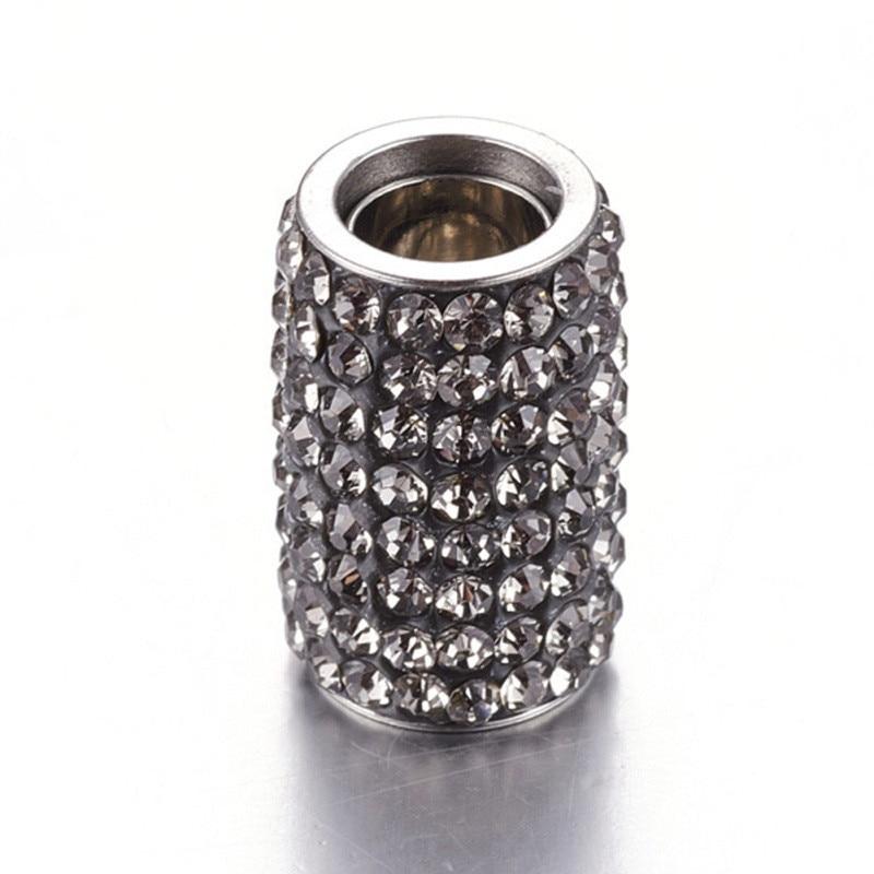 10 ensembles 304 fermoirs magnétiques en acier inoxydable strass, colonne, cristal, 18x12mm, trou: 6mm F80 - 5