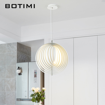 BOTIMI Modern LED Pendant Lights With White Metal Lampshade For Dining Room Creative Adjustable E27 Round Hanging Lamp botimi colorful pendant lights for dining nordic led pendant lamp with lampshade single e27 bar light indoor hanging lamps