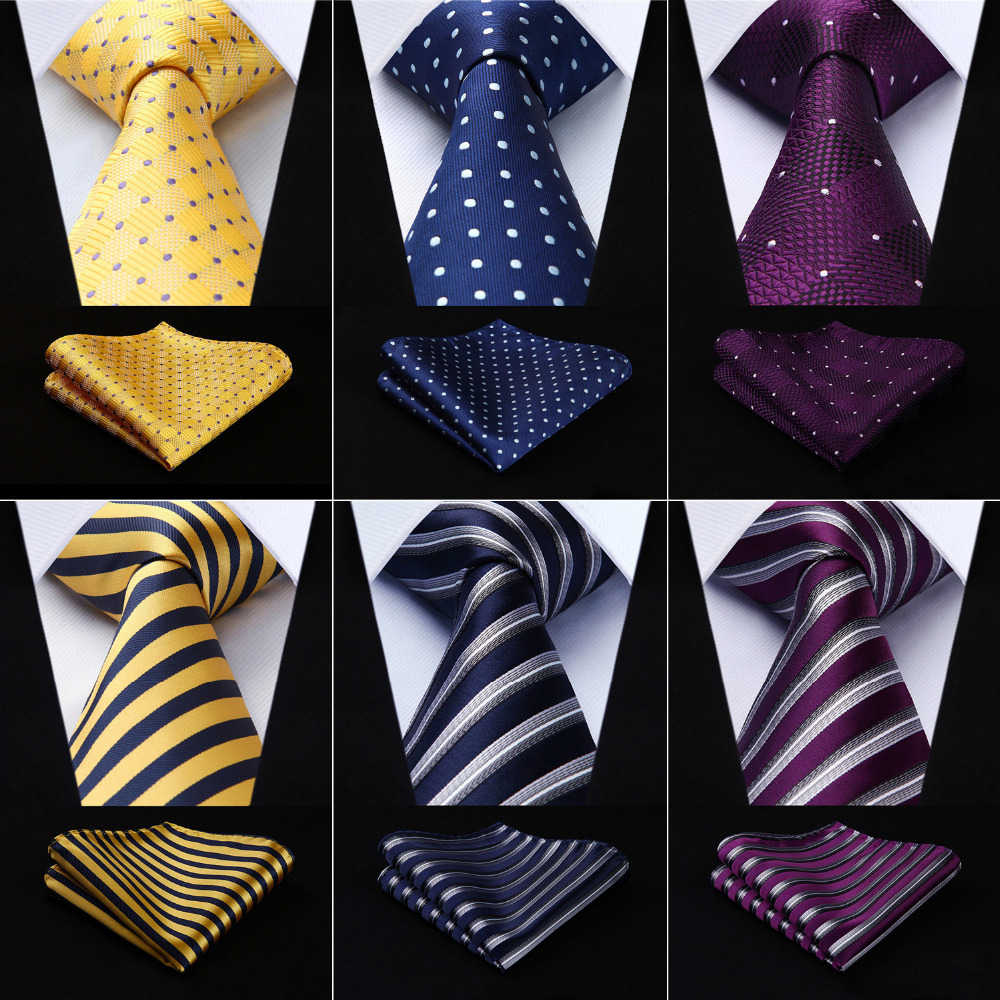 Men Tie Necktie Pocket Square Classic Party Wedding Fashion Striped Polka Dot 3.4