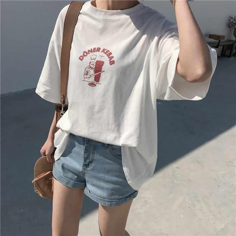 2018 여름 짧은 소매 대형 Tshirt 만화 요리사 티 코튼 연인 캐주얼 티 하라주쿠 여성 느슨한 티 젊은 탑 뜨거운