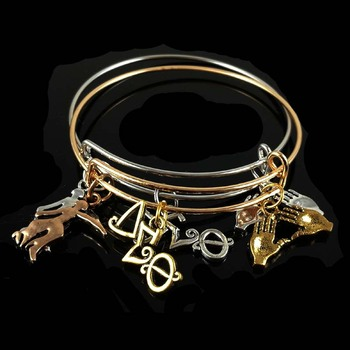 Drop shipping DST letter pinky charm bangle for sister gift Jewelry Delta Sigma Theta Sorority Charm Bangle