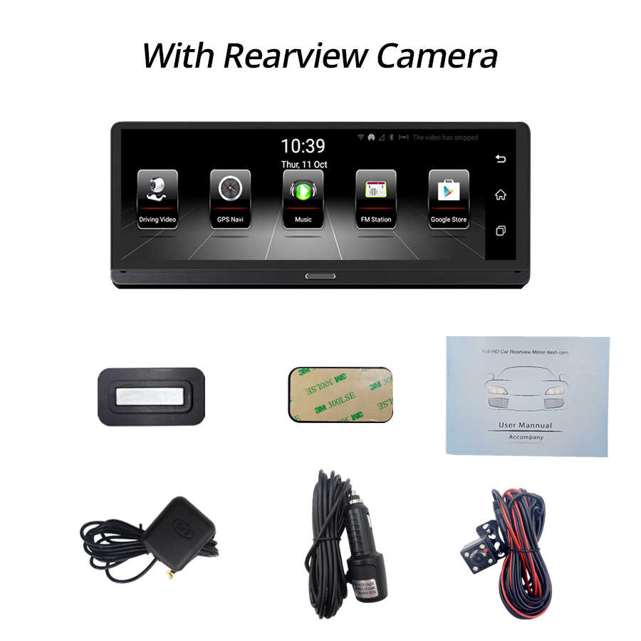 E-ACE E14 سيارة DVRs 4G الروبوت 8.0 بوصة داش كاميرا 1080 P مسجل فيديو GPS والملاحة أداس Dashcam مع الخلفية كاميرا الرؤية السيارات Dvr